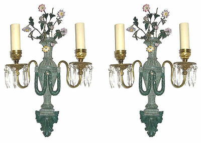 Pair Antique Louis XV Style Green Patinated Metal and Porcelain Sconces