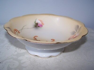 RS ROYAL SILESIA 6 3/8 inch FOOTED BOWL WITH FLOWER PATTERN