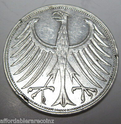 1965 J German 5 marks coin .625% silver (#119c)*