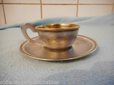 Beautiful Russian Sterling Silver &  Gold Cup And Saucer 85 grams