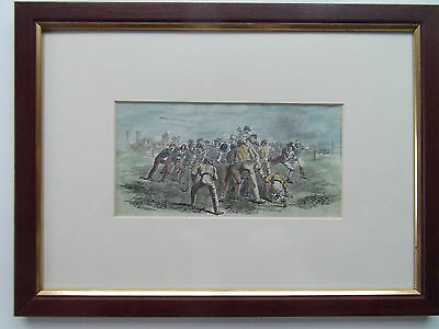 "RUGBY NEWLY FRAMED ANTIQUE PRINT DATED c1880 10"" X 14"""