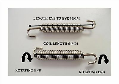2 x Stainless Steel Exhaust Springs 93mm For Expansion Pipes Or Manifold Link