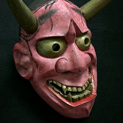 Japanese mask of HANNYA  Noh Kabuki Oni Demon Evil Wooden