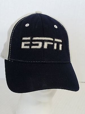 ESPN Black and Beige Stretchy Ball Cap Hat