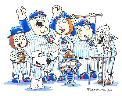 Family Guy Chicago Cubs World Series OOAK Hand Drawn Painted Signed Large 11x14