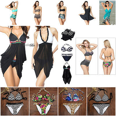 Womens Swimwear Bikini Set Bandage Push-Up Bra Bathingsuit Beachwear Swimdress