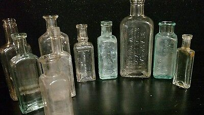 Antique Glass Bottles Cork Stoppers Medicine Apothecary Drug Blue & Clear Lot