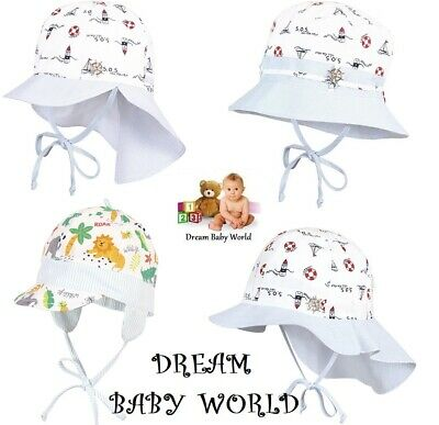 100% Cotton summer boys bonnet sun HAT 3 - 24 months 2 - 6 Years Cap BABY neck