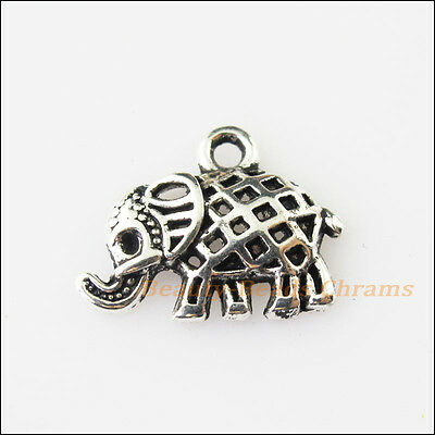 12 New Tiny Animal Elephant Tibetan Silver Tone Charms Pendants 13.5x17.5mm