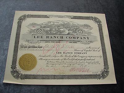 1912 Lee Ranch Company Stock Certificate Vintage Utah Free Shipping