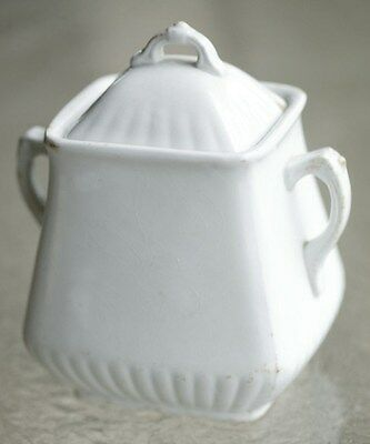 Powell & Bishop English White Ironstone Square Ridged Sugar Canister 1876
