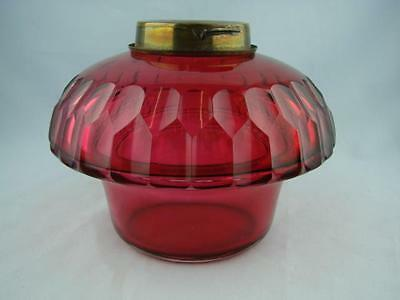 Victorian Cranberry Facet Cut Glass Drop In Font For Oil Lamp ( Angel Lamp? )