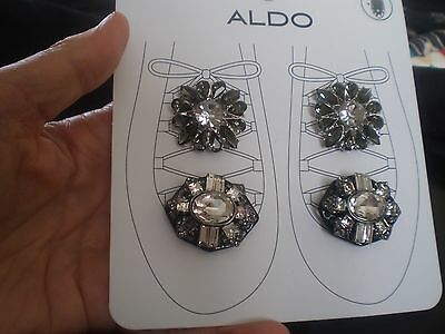 ALDO 2 PAIRS SILVER & BLACK TONE with BLING SHOE CLIPS