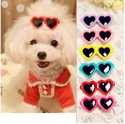 Dog Hair Bows Clips Pet Puppy Grooming Doggie Boutique Sunglasses Mix Colours UK