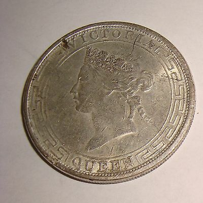 1867 Hong Kong China Empire Silver One Dollar Coin British Queen Victoria Bust