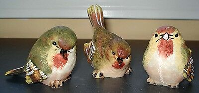 Trio of bird figurines olive green/yellow/rust/black/white
