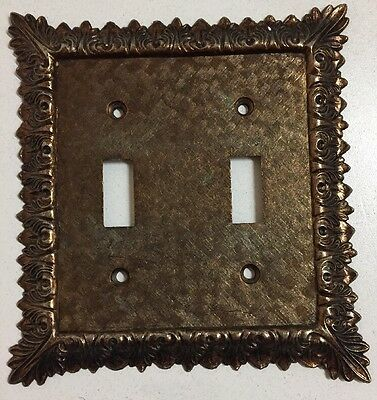 Vintage Brass Decorative Ornate Double Toggle Light Switch Cover Plate