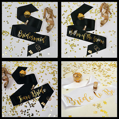 TEAM BRIDE HEN PARTY SASHES - Black & Gold Bride to Be Hen Party Accessories