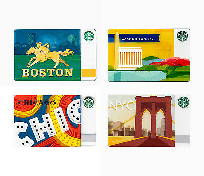 Lot of 4 East City (Boston, DC, Chicago, New York) Starbucks Gift Cards (2013)