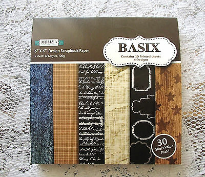 """Pack of 30 sheets of MOLLYS 6 inch x6 inch Scrapbook paper """"BASIX"""" designs #2"""