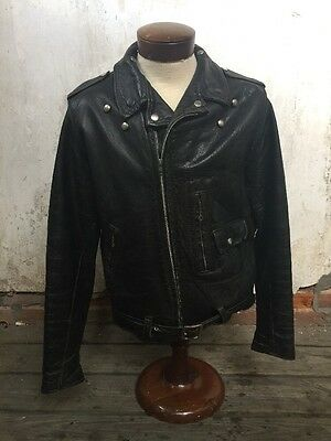 Vintage Sears Oakbrook 1960s D-pocket Leather Motorcycle Jacket Biker Moto