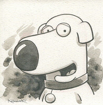 Family Guy Brian OOAK Original Hand Inked Illustration Drawing Signed