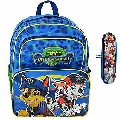 """Paw Patrol Boys Large Blue Backpack 16"""" with Pencil Case"""