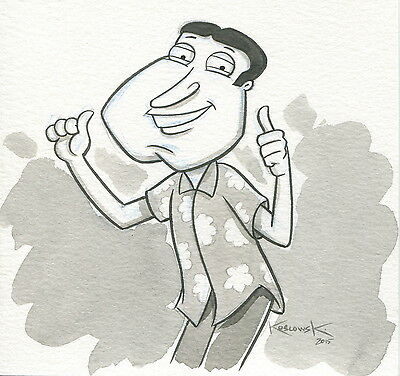 Family Guy Quagmire OOAK Original Hand Inked Illustration Drawing Signed COA pj