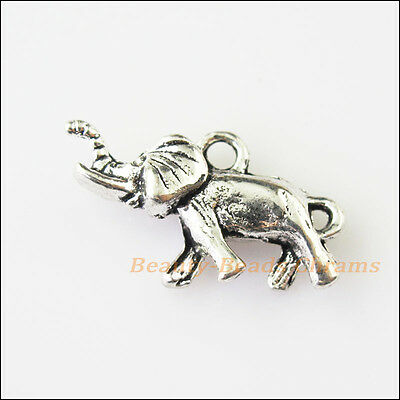 4 New Animal Elephant Lovely Tibetan Silver Tone Charms Pendants 14x24mm