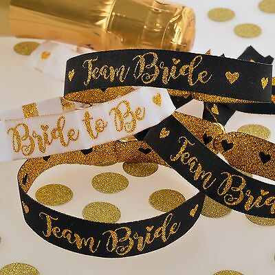 TEAM BRIDE FABRIC WRISTBANDS - Black/Gold Favours Accessories Party Bag Fillers