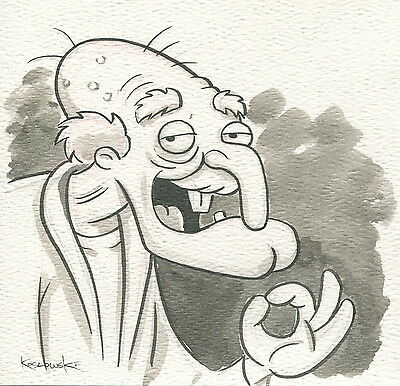 Family Guy Herbert Perv OOAK Original Hand Inked Illustration Drawing Signed