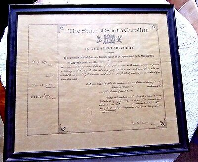 Antique Certificate State Of South Carolina Supreme Court Attorney Seal 1908