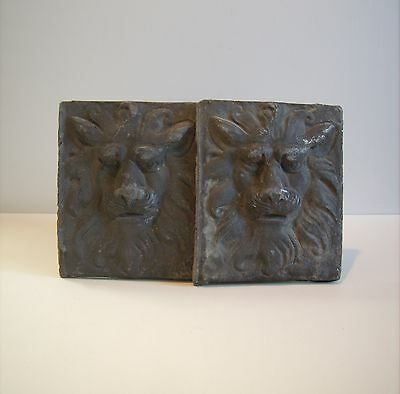 Vintage PAIR LARGE Heavy Cast Metal Lions Medieval Wall Plaque Gothic Wall Home