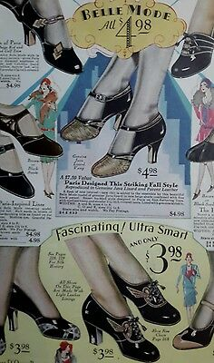 1929 vintage Paris Style Shoes women's fashion color catalog page college girl