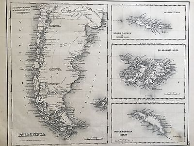 Antique 1857 Map of Patagonia Falkland Islands South Orkney Georgia Colton