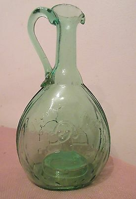 rare antique Jenny Lind Fislerville hand blown green glass bottle pitcher