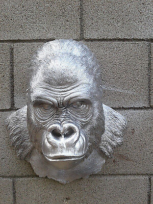 SILVER Gorilla Ape Head Bust Hanging Wall Mount Decor Statue