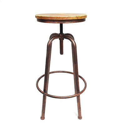 Industrial Steel Bar Stool - Single Ring | Bronze | Swivel Dining Kitchen Vintag