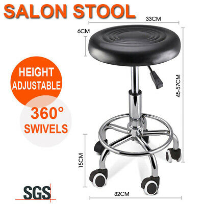 Salon Round Chair PU Swivel Lift Stool Barber Massage Hairdressing Styling SGS