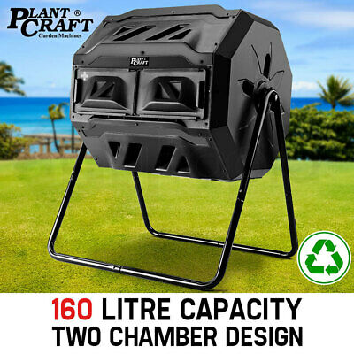 NEW 160L Compost Tumbler Dual Twin Bin Food Waste Aerated Composter Garden bed