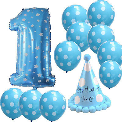 First Birthday Boy Balloons Set Best 1st Party Supplies for Bday Shower Decor