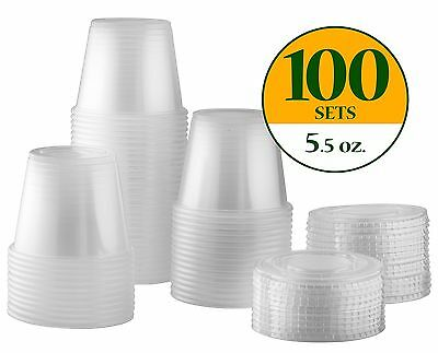 Plastic Disposable Portion Cups Souffle Cups with Lids (Pack of 100 5.5 oz)