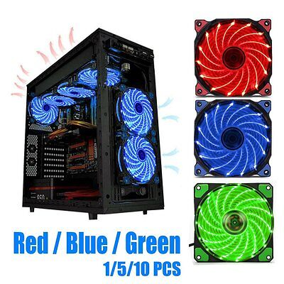 120mm LED Ultra Silent Computer PC Case Fan 15 LEDs 12V Easy Installed LOT AUU