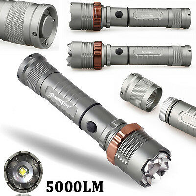 Tactical Flashlight 5000LM XM-L T6 LED Zoomable Torch Lamp+Battery+Charger