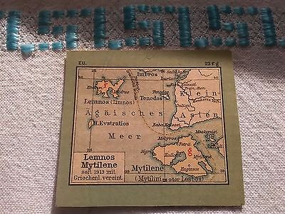 Lemnos & Mytilene Thasos, Imvros Tenedos Islands,Greece Greek 1913 Miniture Map
