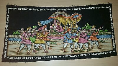 Large Indian Art Deco Painting WALL HANGING CLOTH PICTURE Batik