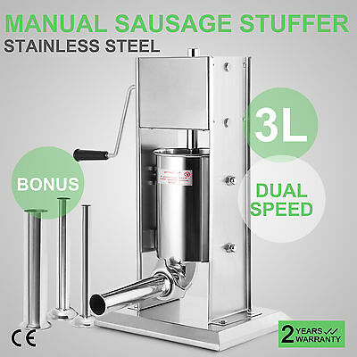 3L Manual Sausage Stuffer Maker Meat Filler Machine 4 Tube 2-Speed 304 Stainless