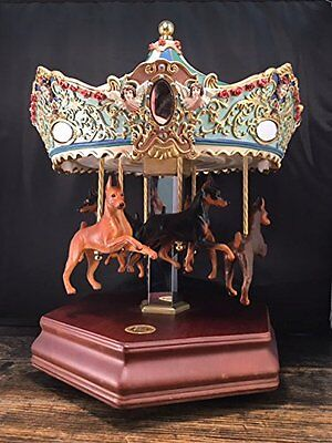 Miniature Pinscher Carousel Music Box - Vintage - (San Francisco Music Box Co)