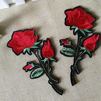 Rote Rose Aufnäher Aufbügler Applikation Motiv Patch Stickerei Embroidery