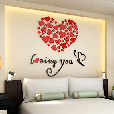 Acrylic Lovely Mirror Hearts Home 3d Wall Stickers Decor Diy Decal